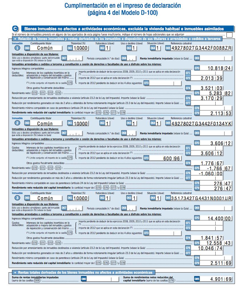 Alquiler en Renta 2012 - Caseros - Caso Práctico 3