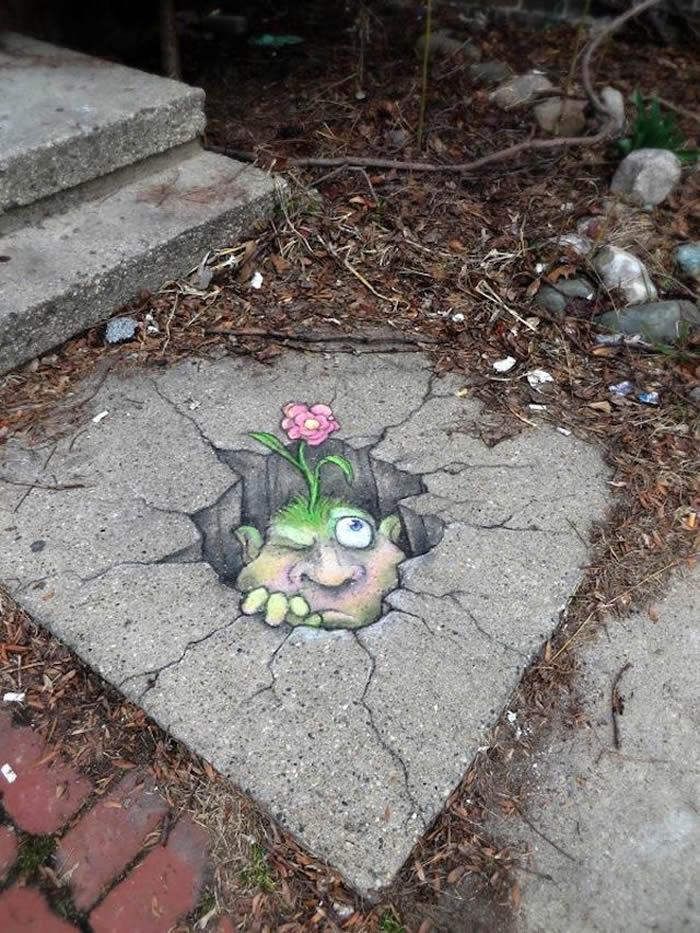 Street Art Utopia - Chalk Art por David Zinn en Michigan, Estados Unidos