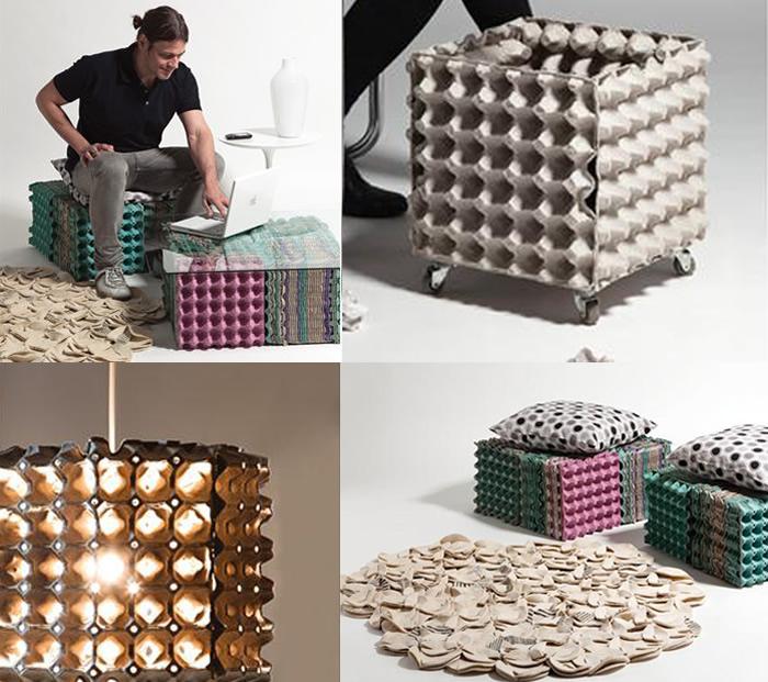 Unos cartones de huevo sirven para sentarte, iluminarte, recoger la basura ... - Fuente: Muyingenioso.com