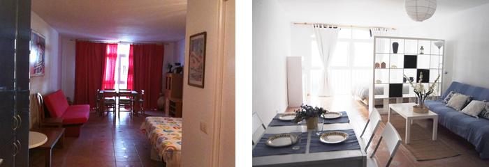 A la izquierda se ve el comedor/dormitorio original y a la derecha cómo quedó tras el trabajo de Studio BMK Arquitectura