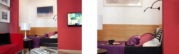 En un extremo del salón se instaló el dormitorio, visualmente apartado de la zona social del piso. Fotografía: Stephan Zahring .