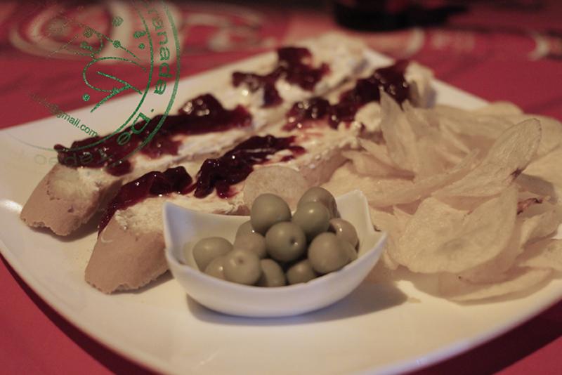Tosta de crema de queso con pimientos caramelizados II