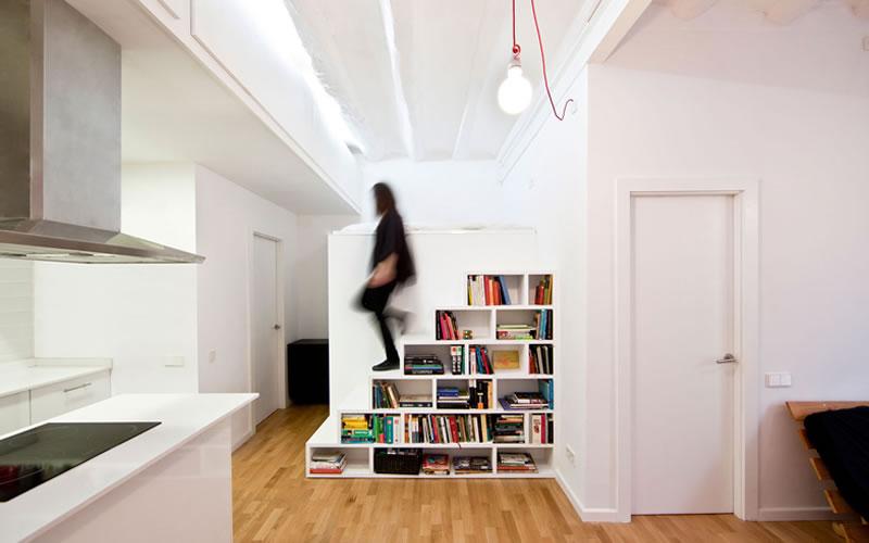 biblioteca en piso