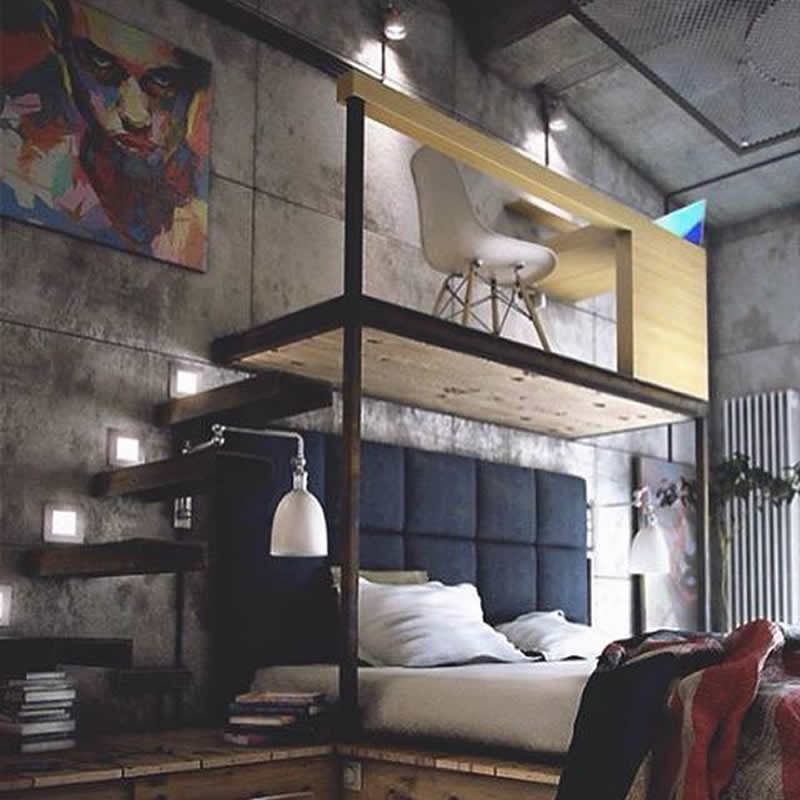 cama con estudio arriba