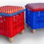 Taburetes que en otra vida fueron cajas de fruta- Fuente: Manualidadesdehogar.com