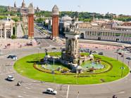 Plaza de España en Barcelona, entrada a la Fira de Montjuïc
