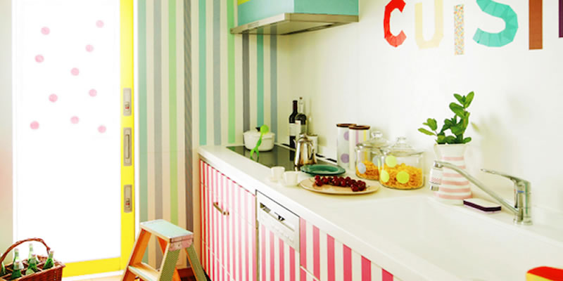 cocina decorada con washi tape
