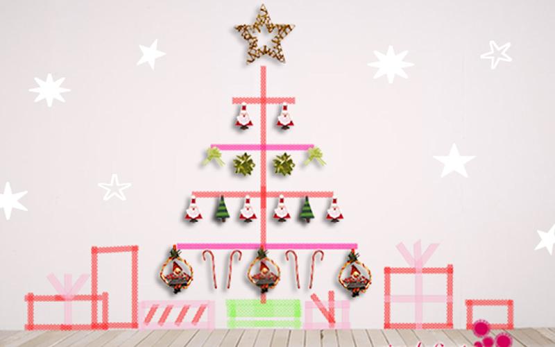 rbol de navidad en la pared