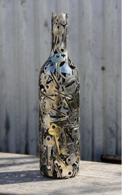 Decoración y reciclaje - Botella de llaves