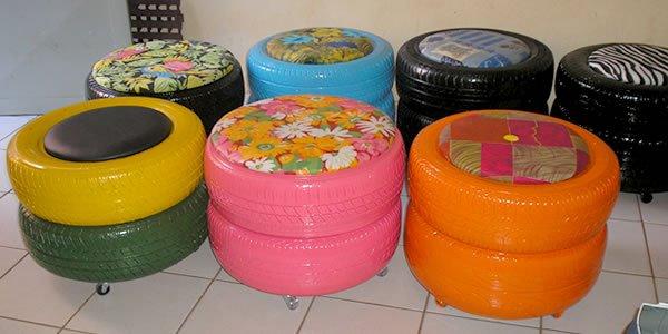 Muebles reciclados - Puffs de neumáticos reciclados