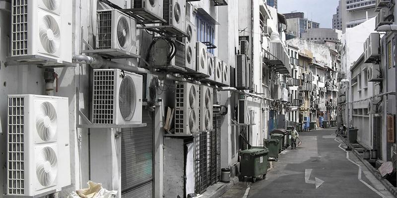 aire acondicionado en la calle