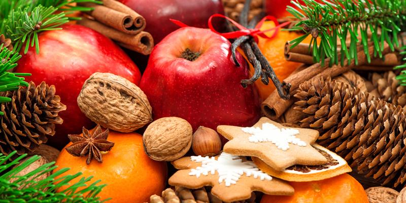 fruta en navidad