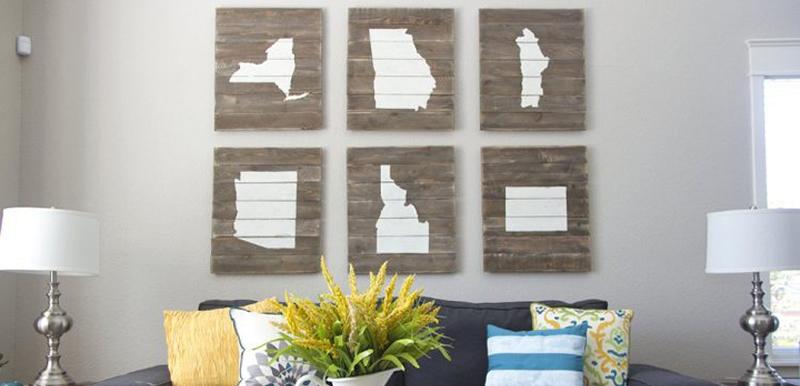 cuadros de madera con mapas