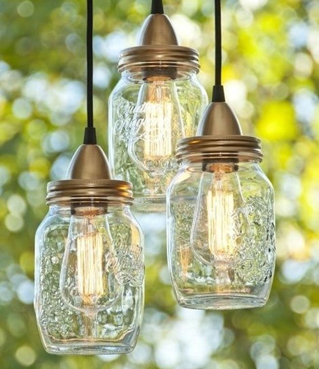lampara DIY con bote de vidrio