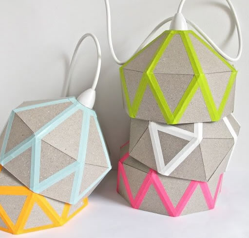lamparas de carton con washi tape