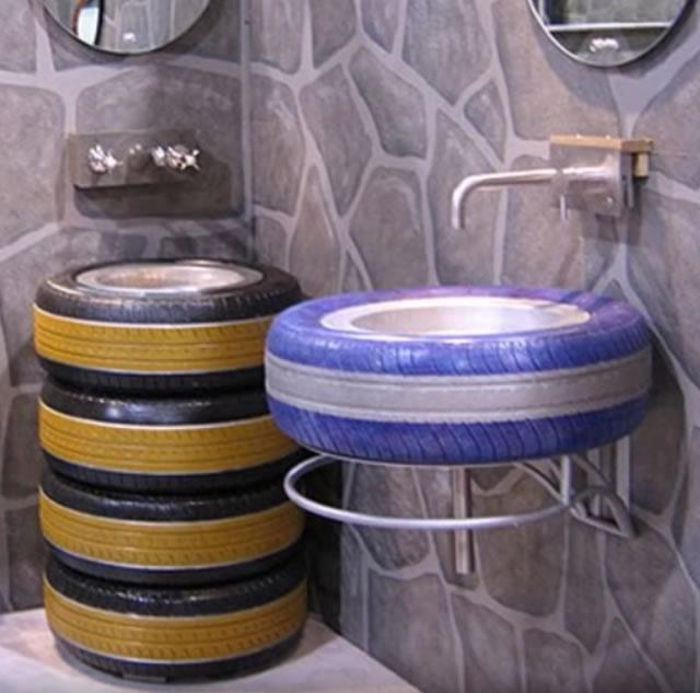 lavabo con neumatico